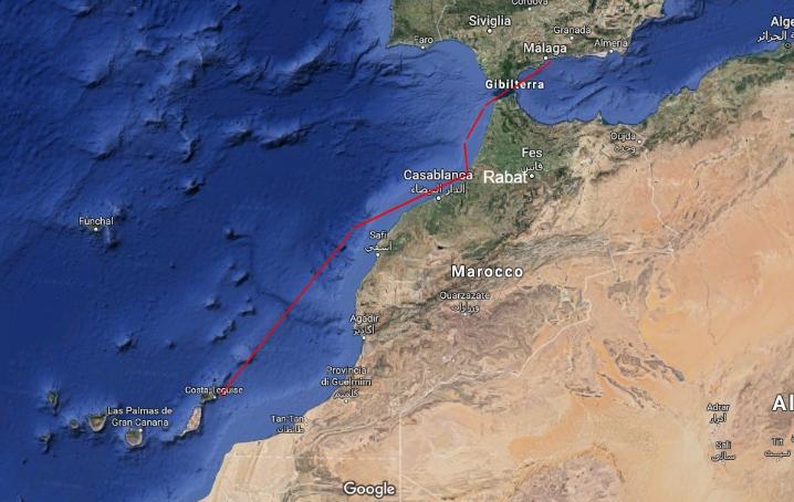 Tratta Malaga Lanzarote in barca a vela