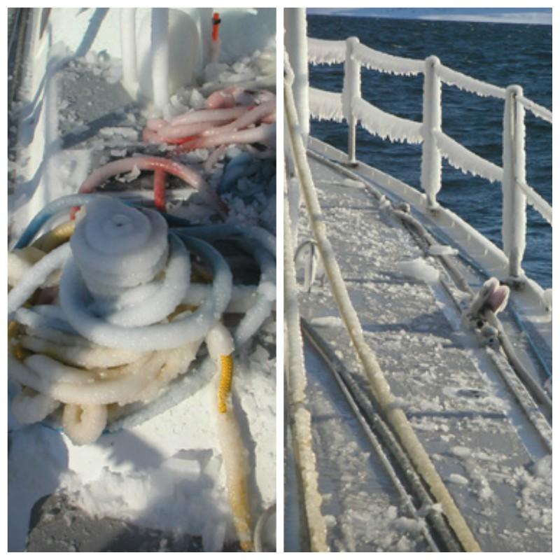 Barca a vela ghiacciata